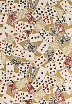 This wallpaper design, 'Royal Flush' was derived from a set of very early, hand printed playing cards. It's perfect for bars and casinos! www.lewisandwood.co.uk