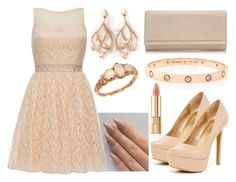 """Complete The Outfit"" by deedee-pekarik ❤ liked on Polyvore featuring Quiz, Jessica Simpson, Jimmy Choo, Shaun Leane, Cartier, Trilogy, clutches, pastel, nude and nudepumps"