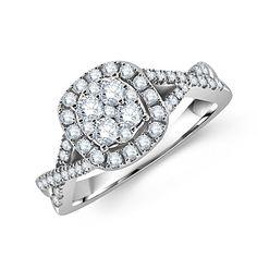 14k White Gold Round Diamond Brilliance Design Engagement Ring - http://www.mybridalring.com/Engagements-Rings/14k-white-gold-round-diamond-engagement-ring/