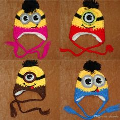 Online Cheap Free Dhl Children Kids Minions Crochet Beanie Knits Handmade Beanies Baby Despicable Me Beanies Caps Hats Christmas Gift By Cleansky | Dhgate.Com