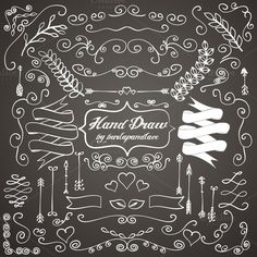 Check out Chalkboard hand draw ornaments by burlapandlace on Creative Market