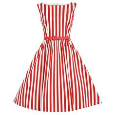 Retro Style Boat Neck Sleeveless Striped Ball Gown Women's Dress — 22.88 € Size: M Color: RED WITH WHITE