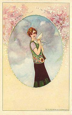 A/S Corbella, Degami 88, Art Deco Glamour Fashion, Dove, ca 1910, very nice card