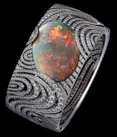 African Influences – High Jewelry Bracelet Platinum, one 35.48-carat cabochon-cut opal, brilliants.