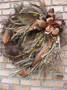 Your place to buy and sell all things handmade Fall Mesh Wreaths, Fall Deco Mesh, Holiday Wreaths, Wreath Crafts, Wreath Ideas, Floral Wreath, Feather Wreath, Christmas Open House, Thanksgiving Wreaths