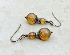 Topaz Earrings Brown Earrings Gold Earrings Czech by SmockandStone