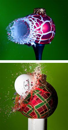 Exploding Christmas ornaments, photographed by Alan Sailer