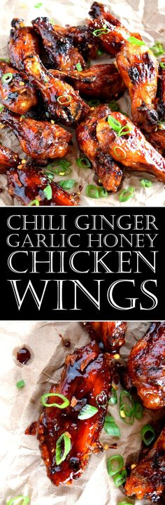 Chili Ginger Garlic Honey Wings have it all – heat, sweet, char, stickiness, and tonnes of intense flavour – what more could a wing lover ask for? Almost everything you need to make these wings is right in the title! Honey Chicken Wings, Honey Wings, Spicy Wings, Bbq Wings, Chicken Thighs, Meat Appetizers, Appetizer Recipes, Dinner Recipes, Appetizer Party