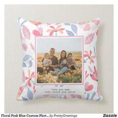 Floral Pink Blue Custom Photo Cute Gift for Mom Throw Pillow