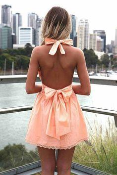 .#bowtie peach dress. Loves.