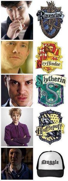 I laughed way harder than was necessary.Sherlock at Hogwarts, or at least some of them! :) (though part of me thinks Sherlock may be a Slytherin - one the side of angels, but not one of them) Sherlock Holmes, Sherlock Fandom, Moriarty, Sherlock Humor, Sherlock Comic, Sherlock Cast, Sherlock John, Martin Freeman, Benedict Cumberbatch