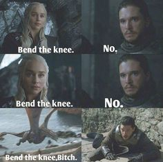 His knee is definitely bent. #dragonpersuasion, Game of Thrones.