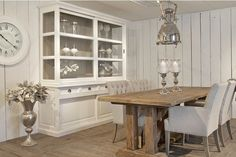Riverdale dressor and chairs Kitchen Dining, Dining Table, Dining Rooms, Rustic Comforter, China Cabinet, My Dream Home, Interior Decorating, New Homes, House Styles