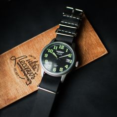 Mens watch - Watch Poljot - Black watch - Vintage watch - Mechanical watch - Soviet watch - Mens vintage watch - Leather NATO strap Russian Military Mechanical Wrist Watch POLJOT AVIATOR Mechanical movement works perfectly. Air Force Military Style. The NATO strap is made of genuine leather handcraft. This watch line is distinguished by strict military design and functionality. The design is inspired by classical aviation models. Case is made of steel with a tough look and minimalistic…