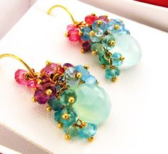 Water Lilies  Gemstone Cluster Earrings by exquiscustomjewelry, $355.00