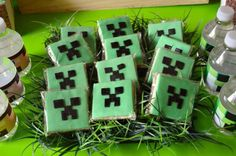 Minecraft COOKIES from a Vintage Minecraft Party found via Kara's Party Ideas | KarasPartyIdeas.com #vintage #minecraft #mine #craft #video #game #party #ideas