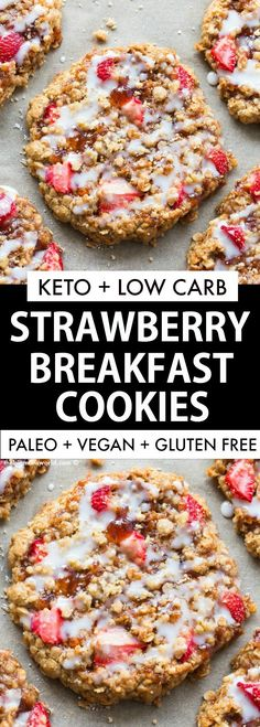 Strawberry Crumble Bar Cookies are a healthy cookie recipe made with NO flour an., Food And Drinks, Strawberry Crumble Bar Cookies are a healthy cookie recipe made with NO flour and NO sugar- Made with oatmeal and banana, it's naturally sweetened and. Keto Cookies, Cookies Et Biscuits, Bar Cookies, No Sugar Cookies, Low Carb Breakfast, Breakfast Recipes, Dessert Recipes, Breakfast Ideas, Breakfast Gravy