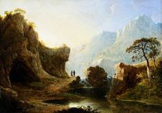 Oil painting, 'Mountain Landscape with Rocks', John Martin, ca. Landscaping Supplies, Landscaping Company, Mountain Landscape, Landscape Art, Glasgow Museum, Romantic Nature, John Martin, English Artists, England