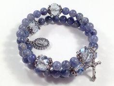 Rosary Bracelet Blue Aventurine Gemstone by BellaDonnasShoppe