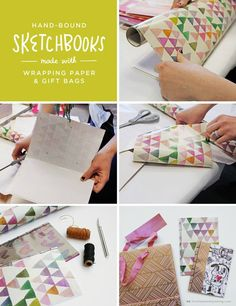 Add a touch of repurposed creativity to your Valentine's Day by making a DIY sketchbook or journal using recycled papers, gift wrap or gift bags. Click here for a glimpse of a recent workshop with Hallmark creatives making these fabulous hand-bound booklets.