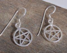 Sterling Silver pentagram pentacle drop earrings dangle 925 wiccan pagan