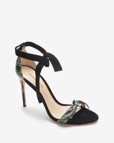 Alexandre Birman Suede Ankle Tie Python Heel Stiletto Sandal