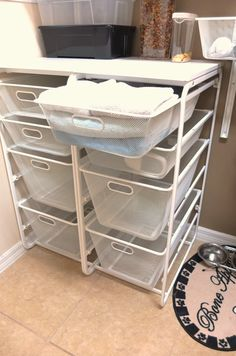The ALGOT drawer unit is free-standing and usable in any area of the home. Mesh baskets allow air to move freely, and you to see what's inside! The top shelf can double as a work surface in tight spaces.
