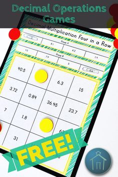 This set of partner games allows students to practice all four operations with decimals to the tenths place. The game includes printable student directions for each operation, four different game boards, and optional game pieces. Chips or colored squares could be used instead of the printables. It is highly recommended to laminate the game board or print on cardstock for extended use!