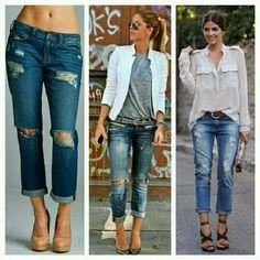 "Destroyed Boyfriend Jeans Loose fit ~ 100% cotton  ~ 28"" inseam unfolded ~ 9"" rise ~ no trades Jeans Boyfriend"