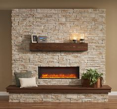 Alluring Electric Fireplace Mantels For Your Interior Fireplace Decor: Gbl 44 Amber Flame High 2 Brick Electric Fireplace Mantels Fireplace Tv Wall, Linear Fireplace, Basement Fireplace, Fireplace Remodel, Fireplace Inserts, Fireplace Mantels, Fireplace Ideas, Fireplace Kitchen, Mantles