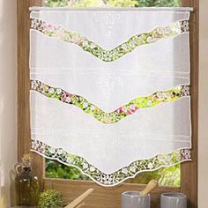 A luxury macrame lace panel with linen and tulle fabric available in many size. Direct from French manufacturer, expert in lacemaking since Gingham Curtains, Tier Curtains, Lace Curtains, Window Curtains, Lace Valances, Macrame Curtain, Arts And Crafts Projects, Window Coverings, Window Treatments