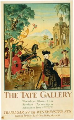Rex Whistler The Tate Gallery Poster, published by the Underground Electric Railways Company, London. The Illustration who had completed a mural, 'Epicurania' for the Tate Gallery restaurant. London Underground, Underground Tube, London Transport Museum, London Poster, Railway Posters, Posters Uk, Tate Gallery, Retro Poster, Kunst Poster