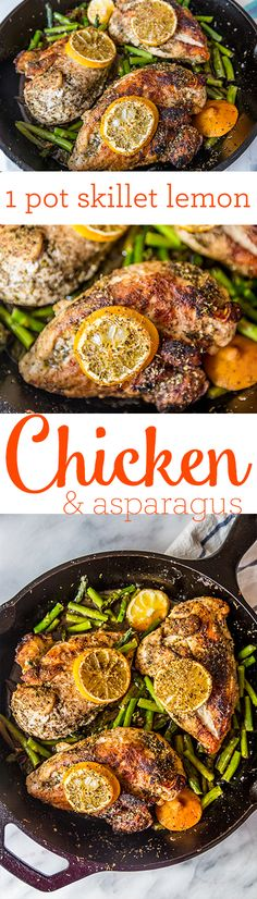 one pot skillet lemon chicken and asparagus- this is such an easy and delicious dish!