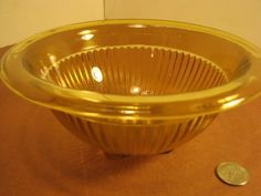 """Vintage Federal Glass Mixing Bowl Amber 7 3/4"""" w Rolled Edge $9.00"""