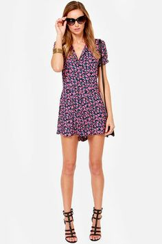 Lucca Couture Budding Out Pink Floral Print Romper