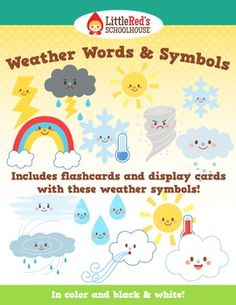 Weather Words and Symbols Pack - Great to get yourself ready for back to school - Bulletin board Morning work $