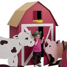 Good Questions: Ideas for Handmade Playhouses? Farm Animal Party, Farm Animal Crafts, Farm Animal Birthday, Barnyard Party, Farm Birthday, Farm Party, Cowboy Birthday, Cardboard Playhouse, Barn Playhouse