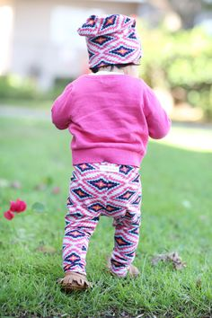 Handmade pink magenta ethnic tribal baby leggings! Fabric is soft and a medium weight, perfect for the cool fall weather!    All leggings are