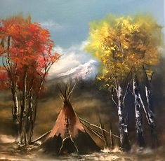 """Indian Teepee Painting, Native American Oil Painting, Birch Trees, """"The Majestic"""" Original Oil Painting Original Oil Painting, Window Painting, Native American Wall Art, Oil Painting Landscape, Painting, Window Art, Art, Painting Crafts, Fine Art Painting Oil"""
