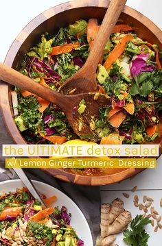 Start your year off wit the Ultimate Detox Salad filled with detoxifying vegetables and tossed with a lemon ginger turmeric salad dressing. Made in 10 minutes for a delicious, hearty, and healthy meal. via My Darling Vegan Source by mydarlingvegan Vegan Detox, Healthy Detox, Healthy Snacks, Healthy Eating, Clean Eating, Detox Recipes, Salad Recipes, Celery Recipes, Detox Meals