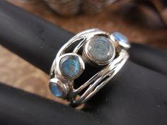 Labradorite 5-Stone Sterling Silver Ring - Size 9.0