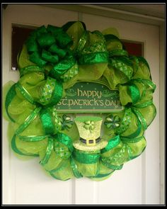 St Patrick's Day Deco Mesh Wreath by JustHangingRound on Etsy, $95.00