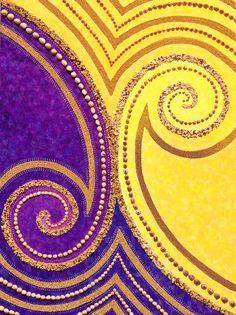 joartflores: Fialová a žlutá spirála design ~ Jill Lena Ford Red Yellow Turquoise, Purple Gold, Mauve, Jaune Orange, Creative Colour, Aesthetic Colors, Mellow Yellow, Shades Of Purple, Mixed Media Art