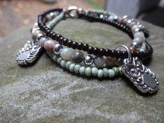 Earth Tone Jewelry Handmade Owl Charm Bracelet by YoursTrulli, $18.95