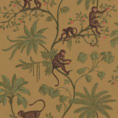 allen + roth Jungle Of Monkeys Wallpaper.I seriously need some jungle & monkey-print wallpaper! Monkey Wallpaper, Toile Wallpaper, Chinoiserie Wallpaper, Prepasted Wallpaper, Print Wallpaper, Animal Wallpaper, Pattern Wallpaper, Bedroom Wallpaper, Chinoiserie Chic