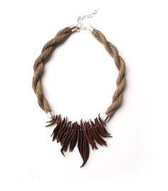 Linen necklace Bohemian necklace Natural Linen necklace