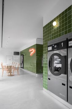 Self Service Laundry Laundry Shop, Coin Laundry, Laundry Storage, Interior Work, Shop Interior Design, Shop Interiors, Office Interiors, Senior Living Homes, Self Service Laundry