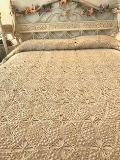"French Farmhouse Antique Ecru Crocheted Bedspread Coverlet Popcorn HM 80""x100"""