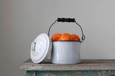 Enamel Berry Pail Vintage Enamelware Enamel Pail with lid