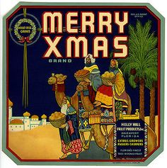 """MERRY XMAS"" RARE 1920s DAVENPORT FLORIDA CITRUS OLD CHRISTMAS FRUIT CRATE LABEL"